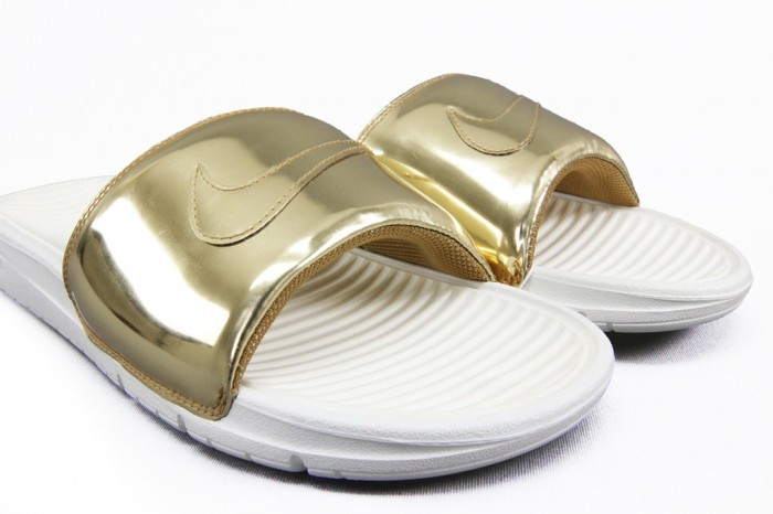Nike Benassi Slides Liquid Metal Gold2