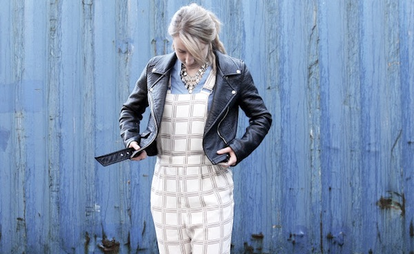 checked-dungarees_fashion-trend_leather-jacket_statement-necklace