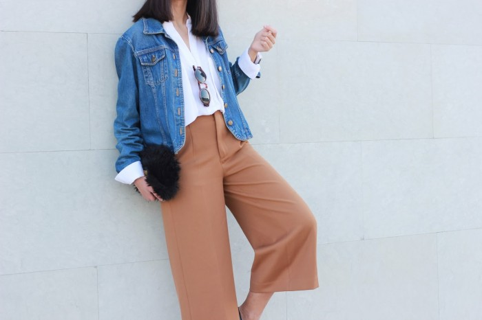 camel culottes denim jacket mimalism fashion caleidoscopio